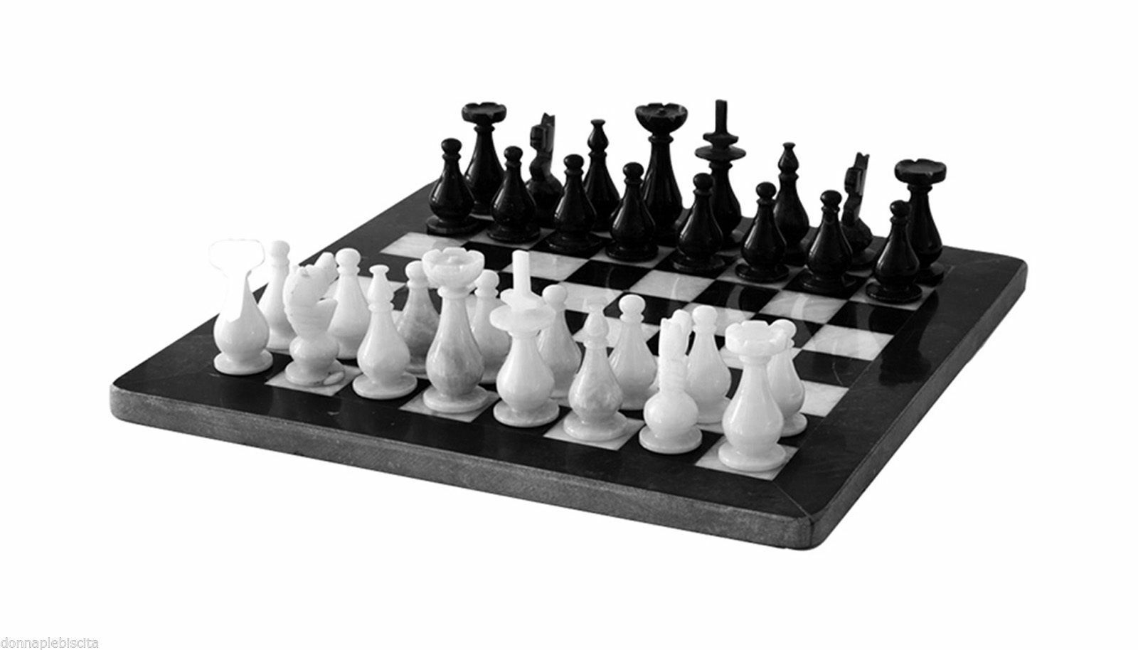 Schachbrett Schachbrett Schachbrett Klassische aus Tabelle Marmor Schwarz-Weiss Italienische 40cm 642a13