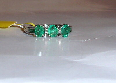 AFRICAN GREEN EMERALD OVAL & DIAMOND 3-STONE RING, 925 SILVER, SIZE 7, 1.35(TCW)
