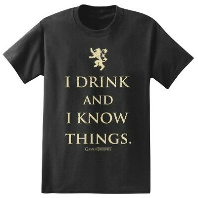 Game Of Thrones TYRION LANNISTER I DRINK AND I KNOW THINGS T-Shirt Tee Authentic