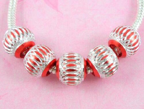 Choose Colour AL13 100 Bulk Lots ALUMINIUM Beads Fit European Charm Bracelet