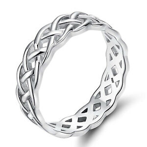 Women-6mm-Infinity-Celtic-Knot-Solid-925-Sterling-Silver-Ring-Size-6-7-8-9-10