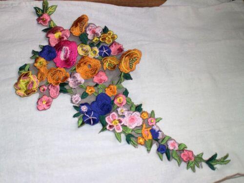 Embroidered Colorful Floral Rose Sew Applique Trim Collar Motif Dress Neck Craft