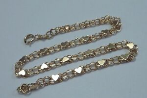 1.8 Gram 14K Yellow Gold 7 Bracelet with Hearts