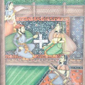 Indian School dipinto Mughal Antico Musicals & Maharani tenendo acqua di rose