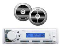 Marine In Dash Am/fm Mp3 Usb Sd Aux Ipod Input Receiver & 2 Silver Speakers on sale