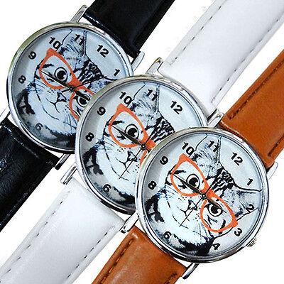 Men Women Unisex Casual Glasses Cat Dial Faux Leather Strap Quartz Wrist Watch