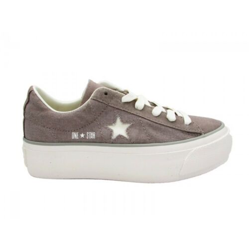 560986c Converse One Star PLATFORM OX MALTED/WHITE/MOUSE CANVAS TAUPE MAXI ALL