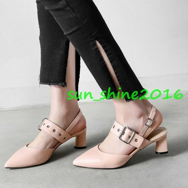 Women's Pointed Toe Buckle Strap Block Heel Pointed Toe shoes Sandals Leather