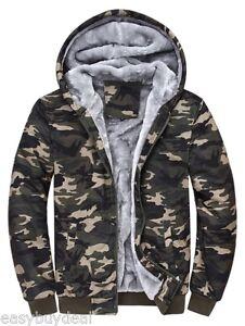 00fc02254d54c Details about Winter Warm Men's Camouflage Camo Fur Fleece Lined Zip Hoodie  Jacket Hooded Coat