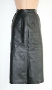 Women-039-s-Vintage-High-Waist-Mid-Calf-Pencil-Black-100-Leather-Skirt-UK10-12-W29-034