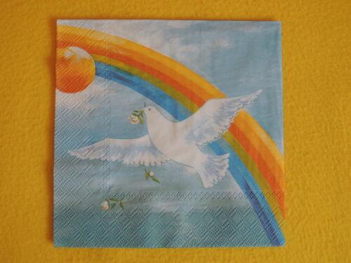 4 blanca servilletas palomas paz arco iris Dove of Peace serviettentechnik