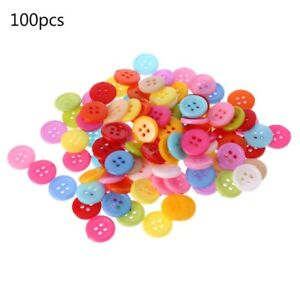 100 Pcs 18mm Buttons Mixed Colors 4 Holes Resin Fit Sewing Scrapbooking DiY