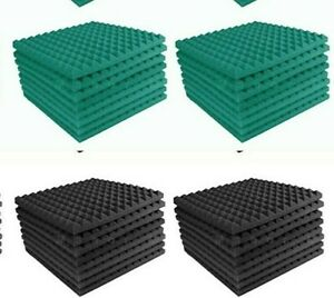 Acoustic-Foam-Home-Studio-96pc-Teal-Charcoal-Gray-Pyramid-Studio-12x12x1-tiles
