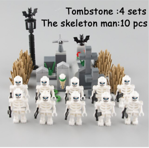 City Part Cemetery The Skeleton Man Green Eyes With Weapon Hallowmas Lego MOC