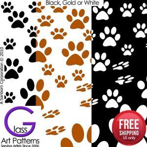 Paw-Print-Fusing-Glass-Decal-Waterslide-Ceramic-Enamel-Black-White-Metallic-Gold