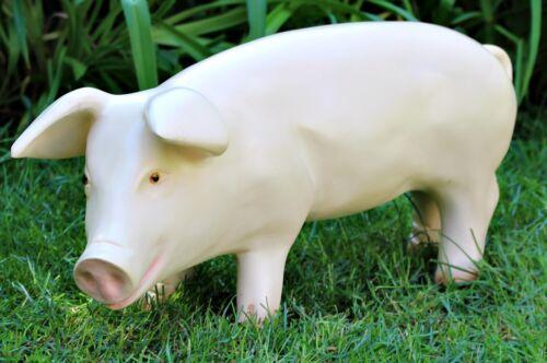 Figur Tierfigur Schwein Ferkel H 26 cm Kopf nach links Gartenfigur Kunstharz