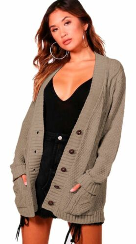 Cable Knit Chucky Cardigan in Mocha RRP £29.99