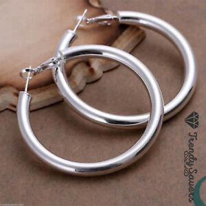 Donne-925-Sterling-silver-filled-BIG-ROUND-LARGE-HOOP-traversina-Orecchini-5
