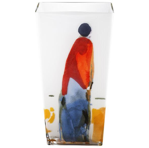 Recomendados. Tettau Opal jarrón de cristal 50 cm Oskar koller decoración azul-rojo-personaje nuevo