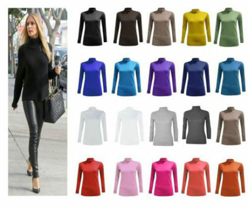 NEW LADIES POLO NECK TOP STRETCH LONG SLEEVE TURTLE NECK TOP JUMPER 8-26
