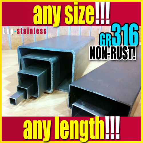 40 X 40 X 1.5  Grade 316 Stainless Steel Polished Box Section *** ANY LENGTH ***
