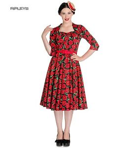 Hell-Bunny-50s-Dress-Pin-Up-POPPY-Red-Black-Flowers-3-4-Sleeve-All-Sizes