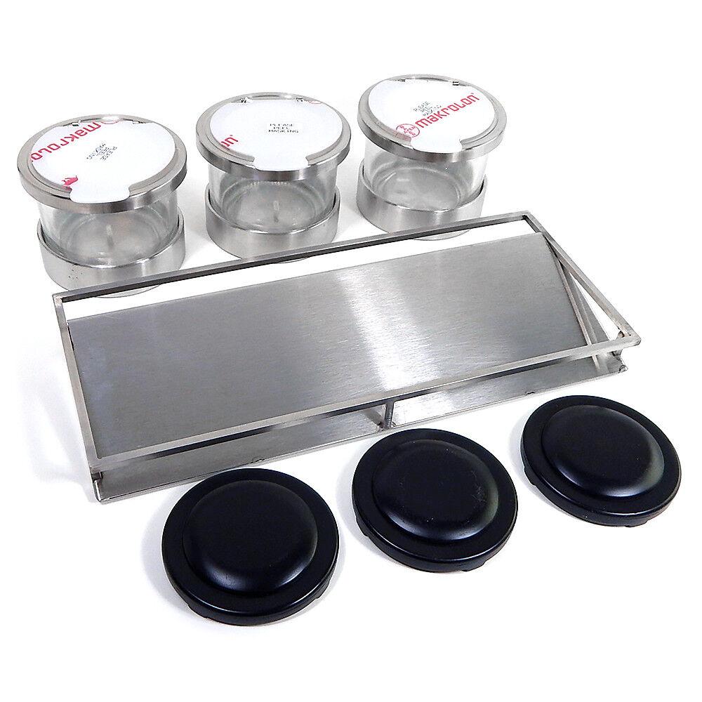Nouveau Cal-Mil 1850-5-55HL Mixologie froid condiment Affichage 3 pièces pots de verre SS