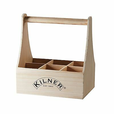 Kilner Bottle Caddy Wooden 6 Sections Drinks Beer Wine Carrier Holder