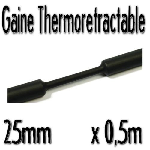 25 mm 0,5m Diam Noir Gaine Thermo Rétractable 2:1