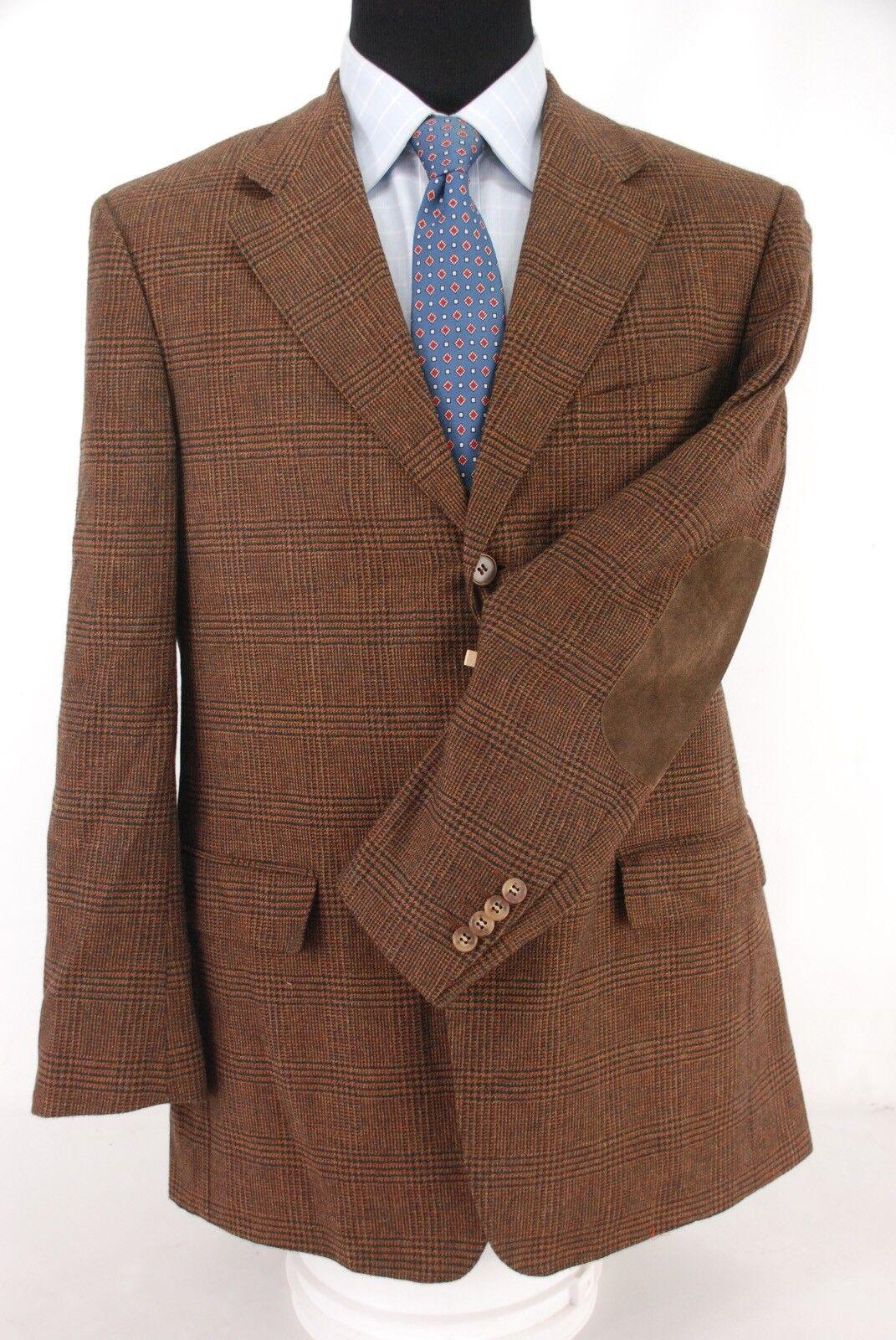 Ermenegildo Zegna 3Btn Shetlair Wool Mohair Cashmere Sport Coat Plaid Patch 42R