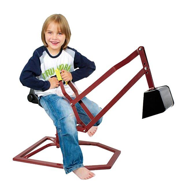 Sand Digger Sandbox Toy Crane Kids Ride Seat PIVOTS Play