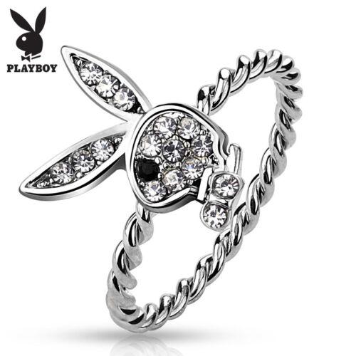 Oficial Playboy Marca Enjoyado Conejo de Cuerda Anillos Fashion Jewelry Tamaño