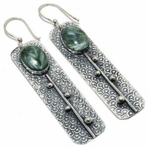 Seraphinite-Gemstone-Handmade-Ethnic-925-Sterling-Silver-Earring-2-8-034