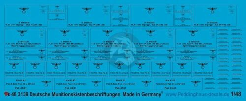 Peddinghaus 1//48 German Ammunition Crate Markings for KwK PaK Ammo WWII 3139