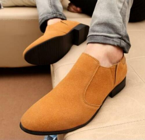Chic Hommes en Daim Synthétique Talon Cubain Bout Pointu Décontracté à Enfiler Mocassins Business Chaussures