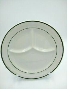 Vintage CARIBE China Divided Plate Restaurant Ware Puerto Rico Green Double Band