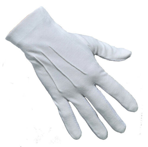 Cotton Nylon White Gloves Masonic Ceremonial Services Gloves