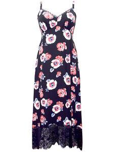 M-amp-S-Sz-12-16-Black-Floral-Bouquet-Print-Deep-Hem-Lace-Border-Dress