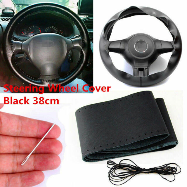 Car Auto Diy Black Genuine Leather Steering Wheel Cover Wrap Sew On Kit 38cm
