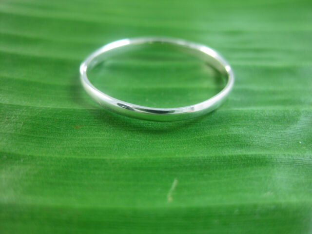 925 sterling silver plain THIN curved 2mm wedding band size 3.25 US to 12 US