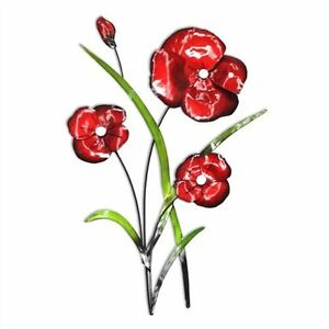 Metal wall art decor picture red poppies green leaves poppy image is loading metal wall art decor picture red poppies amp mightylinksfo