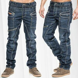 Cargojeans-Regular-Fit-Pants-Pocket-Work-style-bleu-fonce-Coutures-epaisses