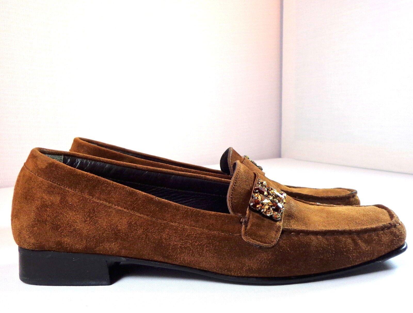 Stuart Weitzman Damenschuhe Braun Suede Loafers Größe 9.5 9.5 9.5 M Embellished Schuhes 4636ac