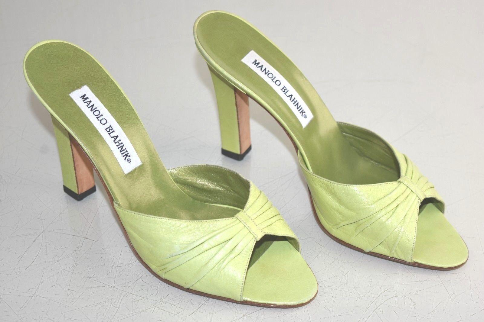 NEW Manolo Blahkin Slides Sandals Leather Grün Lime Mules Heels schuhe 39.5 RARE
