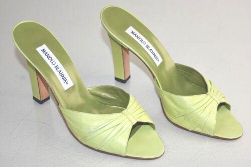 Lime Blahkin Manolo Scarpe Sabot Fermacapelli Sandali Tacchi Nuovo Verde Pelle qYZn1Swwx