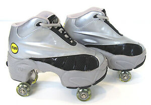 Quad-KICK-ROLLER-Skates-retractable-WALKnROLL-in-outdoor-ORIGINAL-BN-Silver-grey