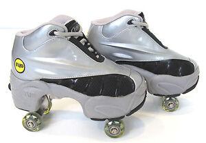 Quad KICK ROLLER Skates retractable WALKnROLL in/outdoor ORIGINAL BN Silver/grey