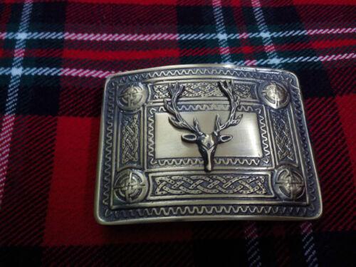 TC men/'s kilt boucle de ceinture finition antique stag head tête de cervidé kilt boucles de ceinture