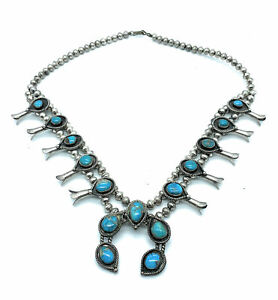 Vintage-Navajo-Sterling-Silver-amp-Turquoise-Squash-Blossom-Necklace