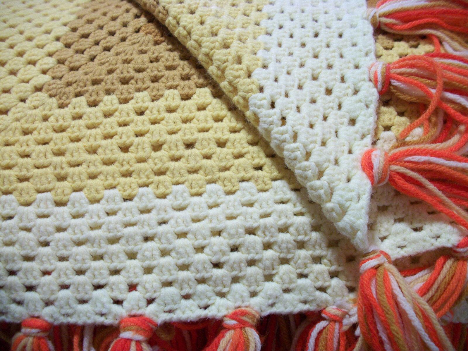 Crochet Knitted Blanket Queen King 102 X102  gold Tan Yellow White orange